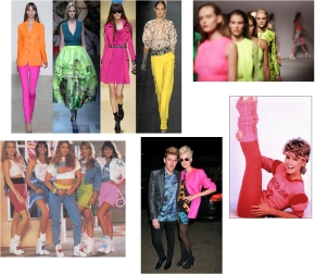 Neon style outfit and 1980's retro style London Fashion week